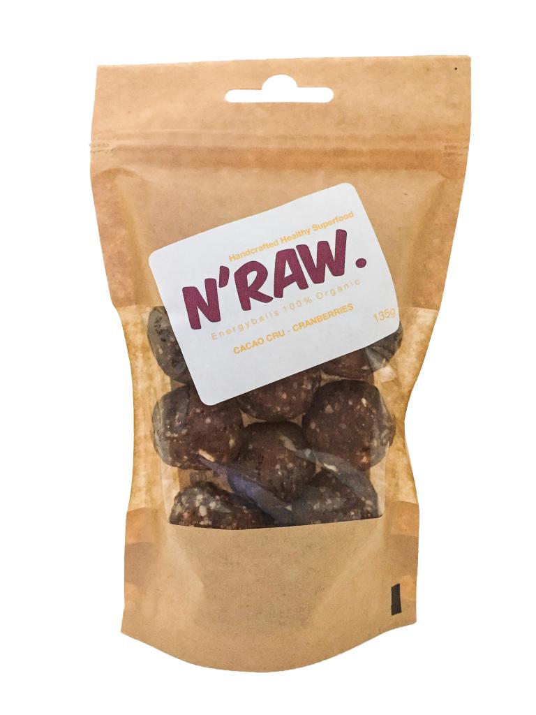 N'raw Energyballs Cacao Cru - Cranberries 140g