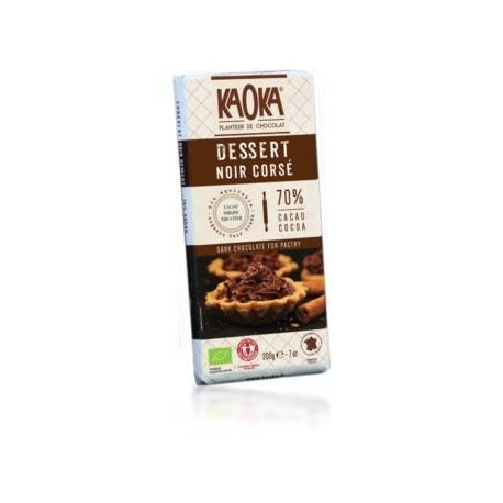 ECOCERT Chocolat Dessert Noir Corsé  Bio 70% Cacao - 200g - KAOKA