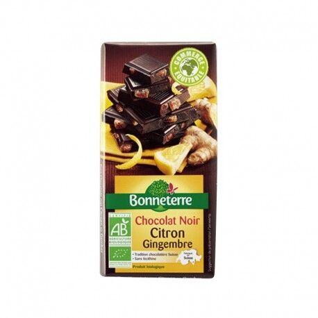 BONNETERRE Chocolat Noir Citron Gingembre 100g -Bonneterre