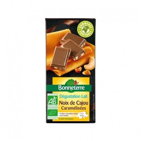 BONNETERRE Chocolat Lait Noix de Cajou Caramélisées 85g -Bonneterre