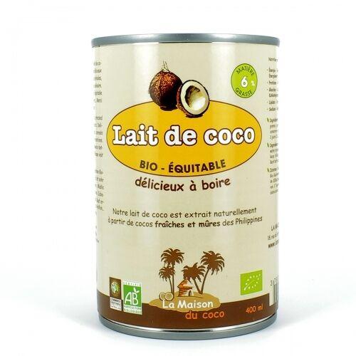 EQUITABLE LA MAISON DU COCO Lait de Coco bio 6%