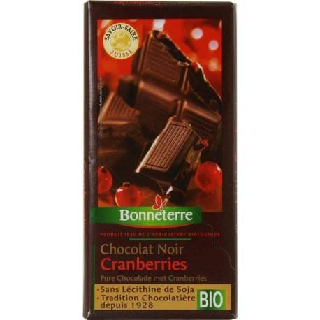 BONNETERRE Chocolat Noir Cranberries 100g -Bonneterre