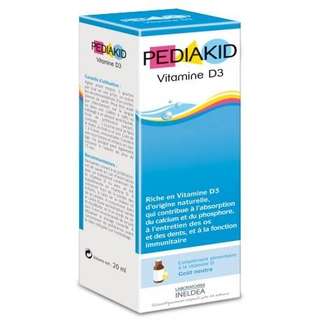 Pediakid Vitamine D3 - 20ml - Laboratoire Ineldea