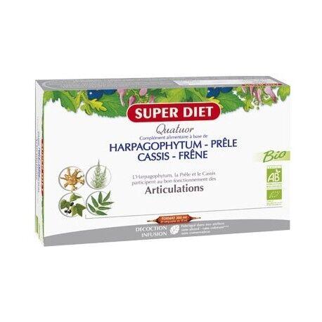 SUPER DIET Quatuor Bio Harpagophytum / Prêle / Cassis / Frêne - 20 Ampoules...