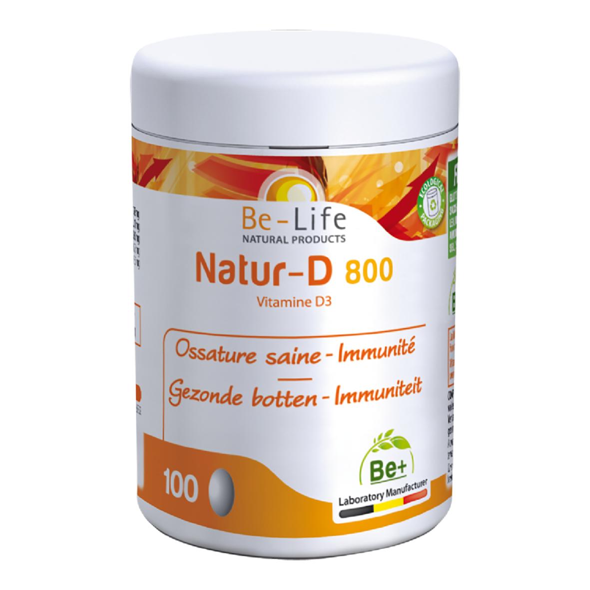 Lechoppebio Natur-D 800 (Vitamine D3) 100 capsules - Belife