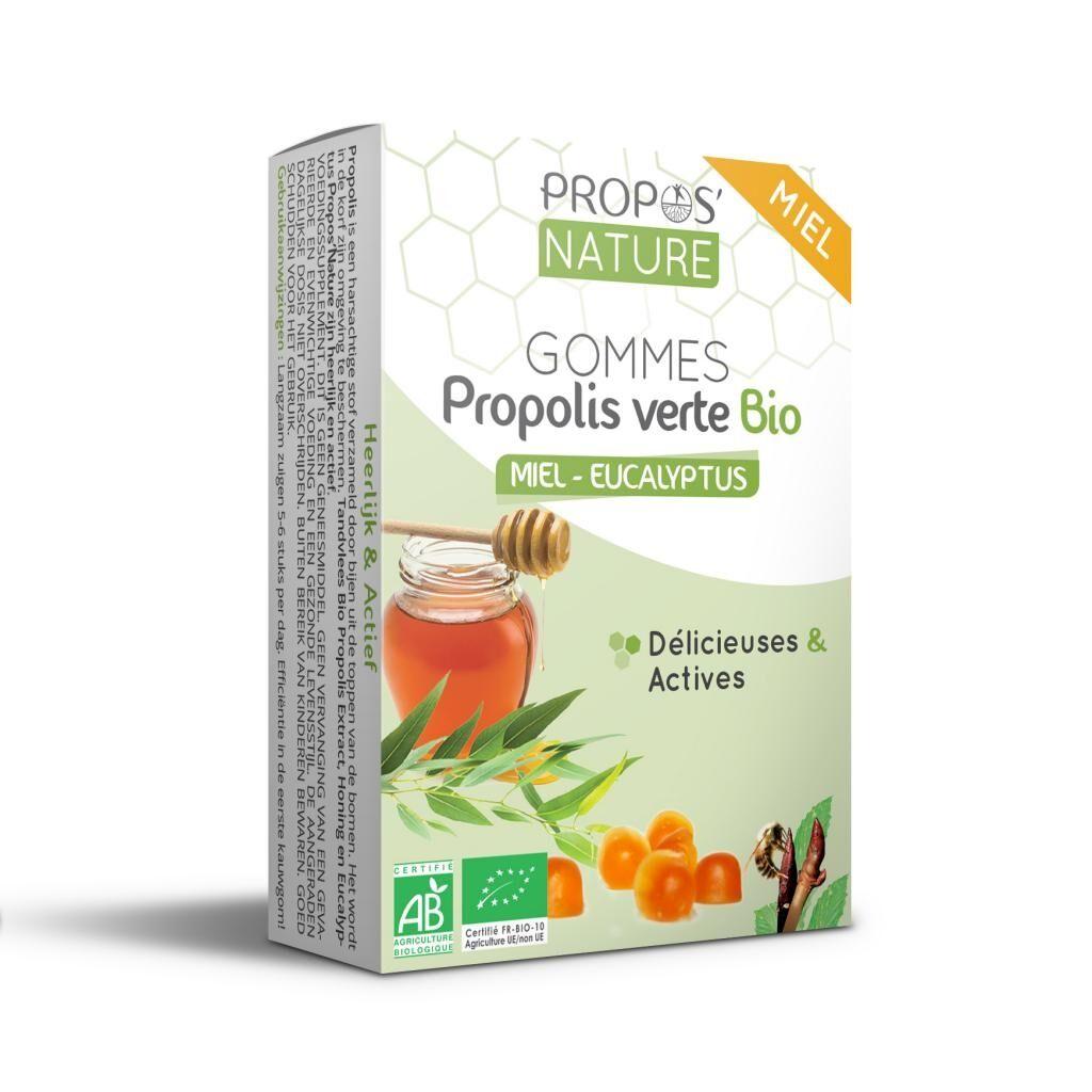 Propos'nature Gommes Propolis Verte BIO, Miel et Eucalyptus (certifiées AB) - 45g