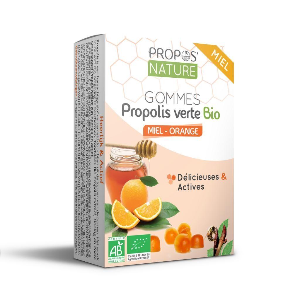 Propos'nature Gommes Propolis Verte BIO, Miel et Orange (certifiées AB) - 45g