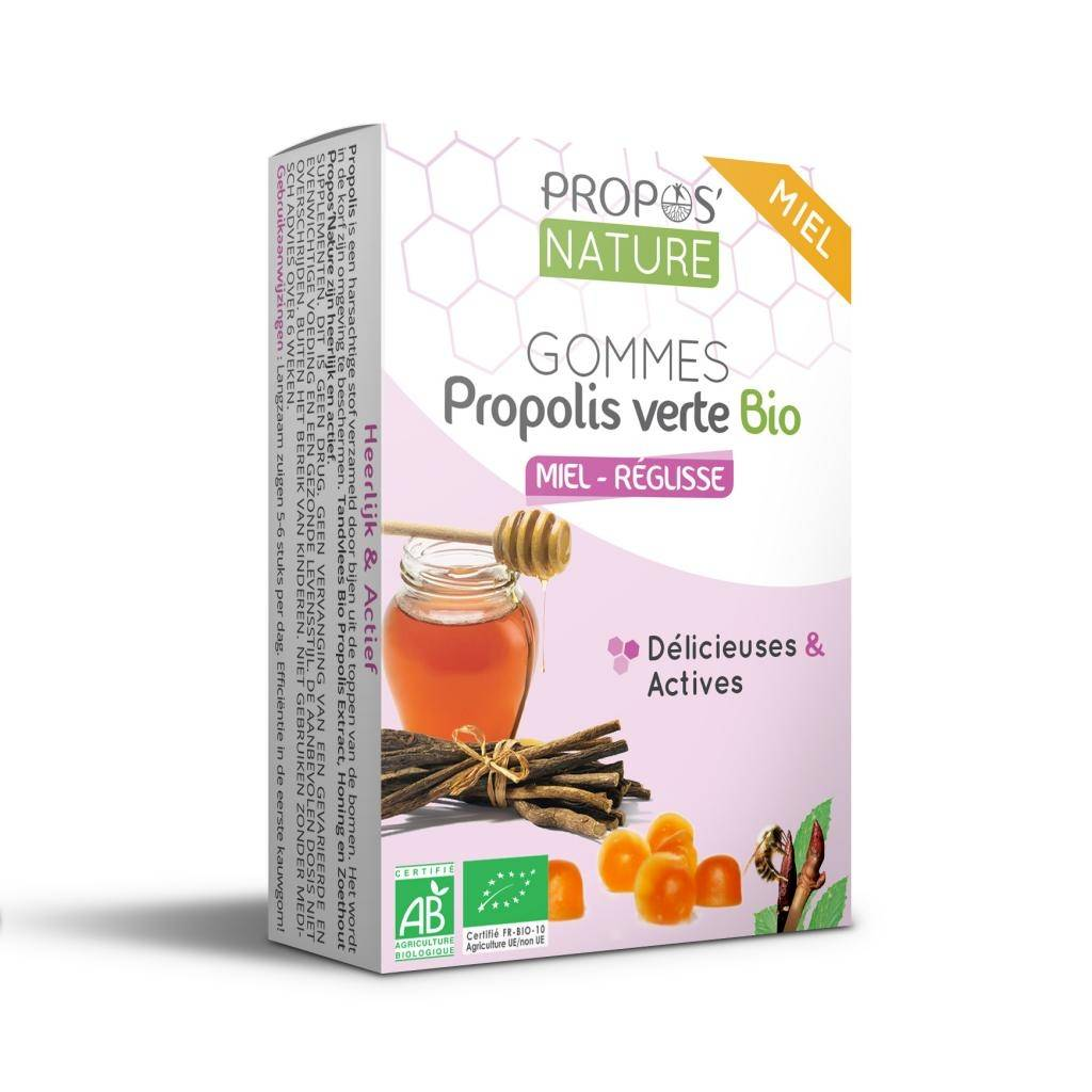 Propos'nature Gommes Propolis Verte BIO, Miel et Réglisse (certifiées AB) - 45g