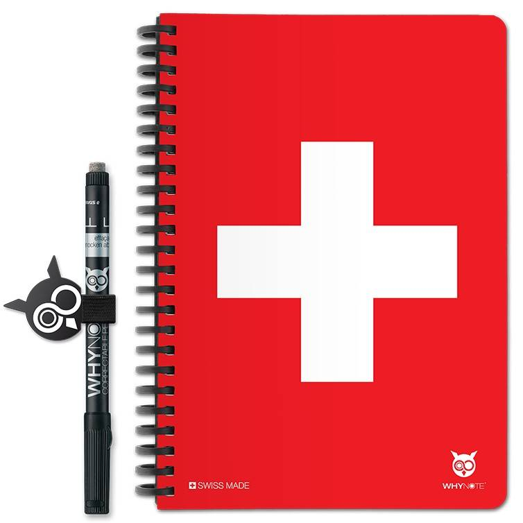 WHYNOTE® A5 SWISS - Bloc-Notes pages blanches / Réutilisable à...