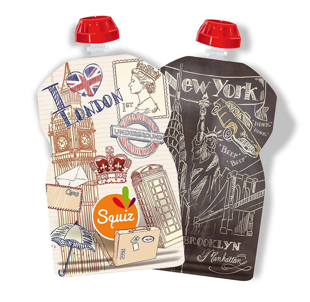 Squiz Lot de 2 gourdes réutilisables 130ml - collection city (london,...
