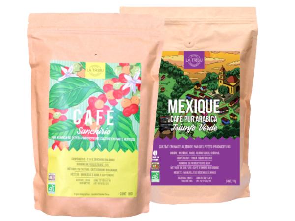 LA TRIBU Pack Découverte café Grain 2x1kg Équitable & Bio origines Pérou & Mexique