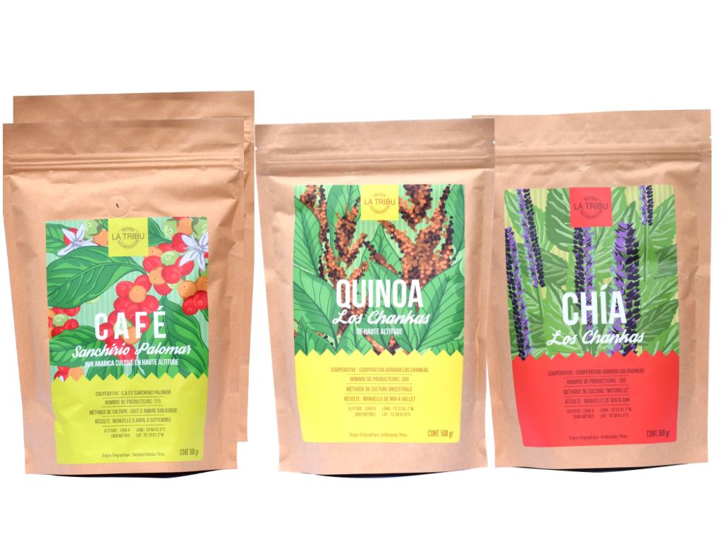 LA TRIBU Coffret Découverte : Café Moulu, Quinoa, Chia