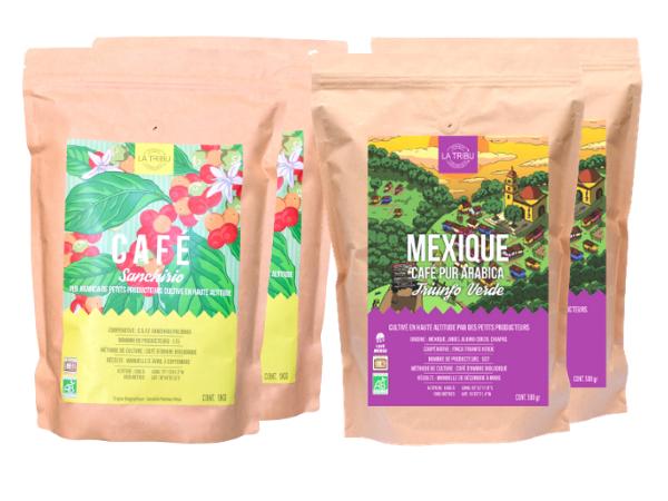 LA TRIBU Pack Découverte café Moulu 4x500g Équitable & Bio origines Pérou & Mexique