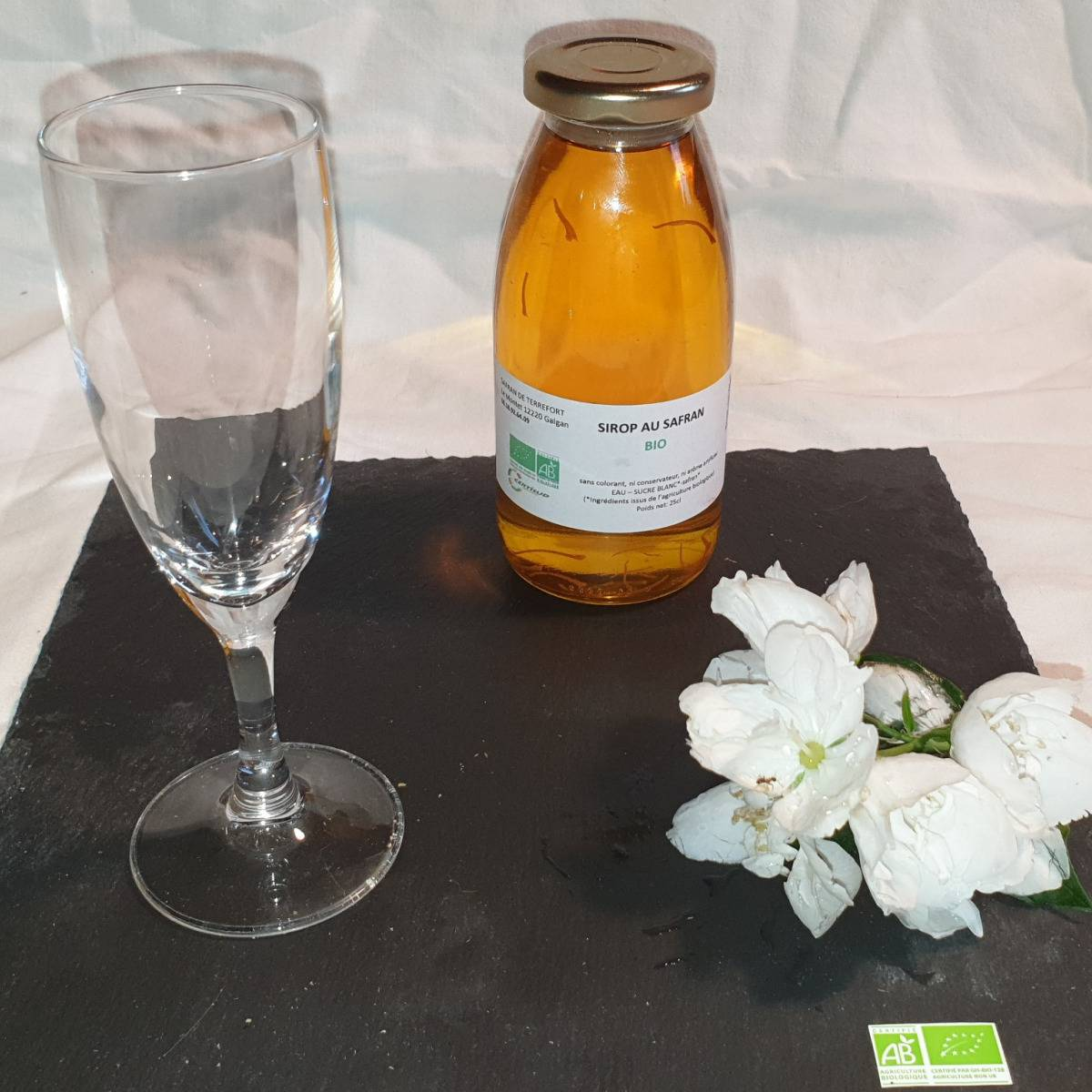 La Ferme du Montet Sirop de Safran - sucre blanc - Bio - 25cl