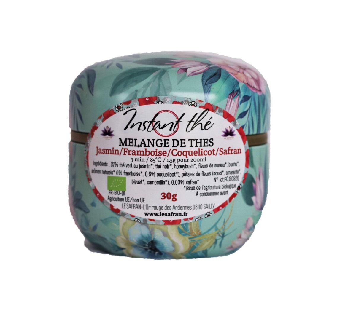Le safran - l'or rouge des Ardennes Mélange De Thés Bio Jasmin-framboise-coquelicot-safran, 30g, 20 Tasses
