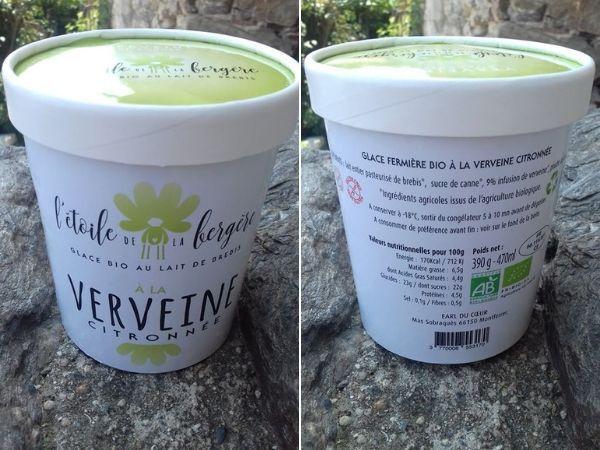 L'Etoile de la Bergère Glace Bio Au Lait De Brebis Corse Verveine Citronnée 470 Ml