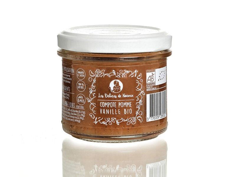 Les délices de Noémie Lot de 3 Compotes Pomme - Vanille Bio pour Bébé dès 6 Mois