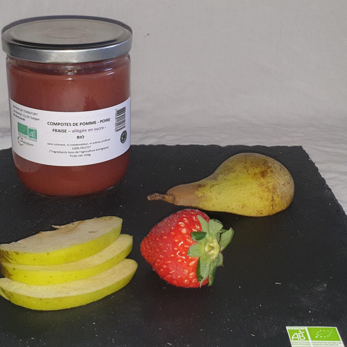 La Ferme du Montet Compote de Poires Fraises allégée en sucre BIO - 420 g