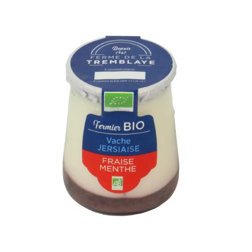 Ferme de La Tremblaye Yaourt De Vache Jersiaise Fermier Bio Fraise &Menthe; 1 pot