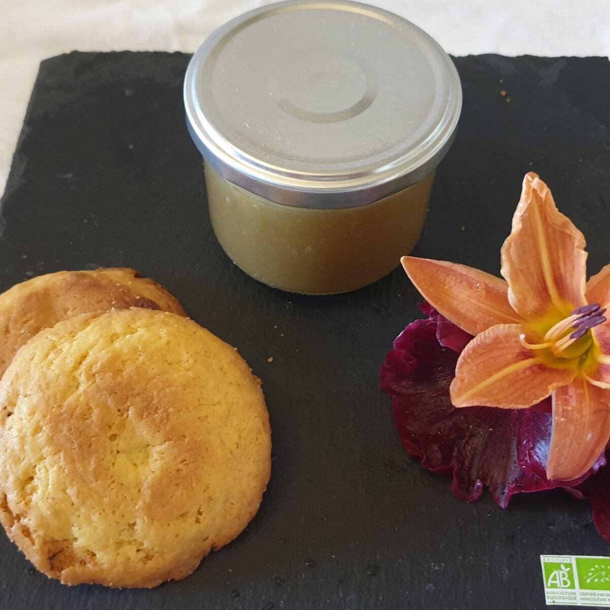 La Ferme du Montet Compote Pomme - rhubarbe - bio - allégée en sucre