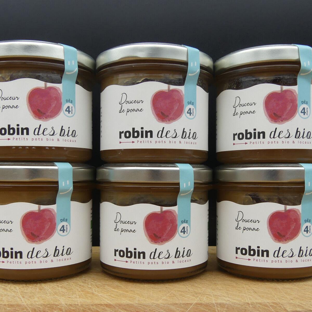 Robin des Bio Lot De Petit Pot Bébé Bio Et Locaux - 6x Pomme ( Dès 4 Mois)