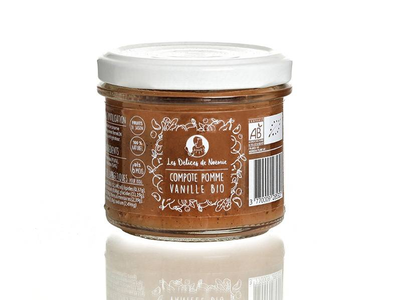 Les délices de Noémie Lot de 6 Compotes Pomme - Vanille Bio pour Bébé dès 6 mois