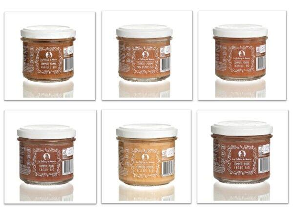 Les délices de Noémie Compotes Bio pour bébé 10 mois (x6): Pomme - Vanille/cannelle/pain D'épice/biscuit, Poire, Poire Cacao