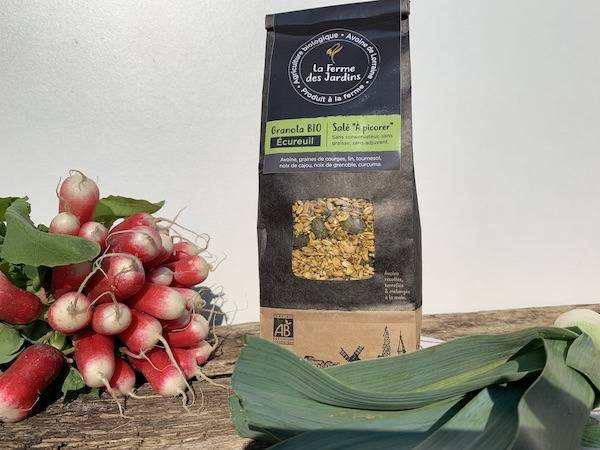 Ferme des Jardins Granola Bio Salé Ecureuil : Noix, Graines Et Curcuma