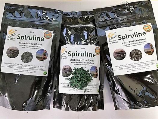 Spiruline de Beauce Lot : 3 paquets Spiruline en paillettes séchées à froid