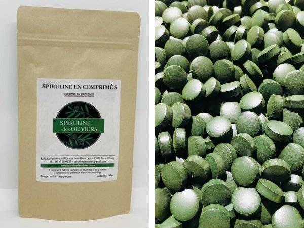 Spiruline des Oliviers Spiruline En Comprimés Cultivée En Provence - 5 Sachets De 100g