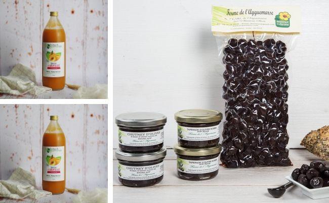 La Ferme de l'Ayguemarse Lot Apéro 100% Veggie et Sans Alcool : Olives, Tapenade x2, Chutney x2,  Jus d'Abricot x2