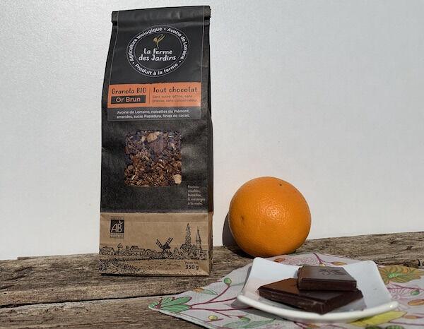 Ferme des Jardins Granola Bio Or Brun :  Chocolat, Noisette Du Piemontet Amandes