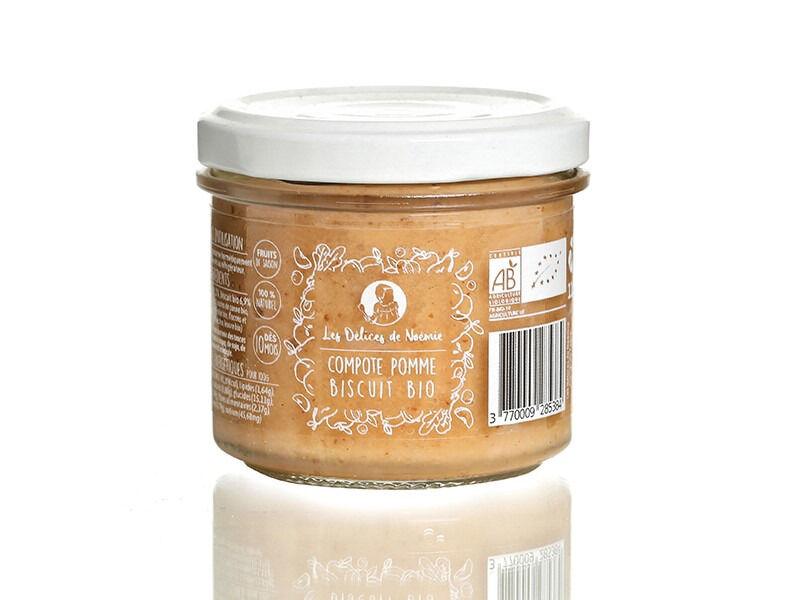 Les délices de Noémie Lot de 6 Compotes Pomme - Biscuit Bio pour Bébé dès 10 mois