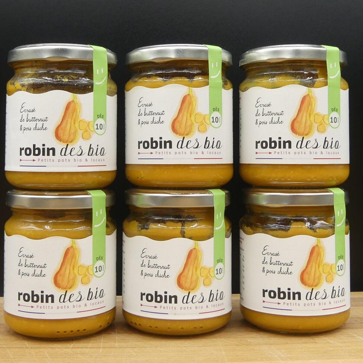 Robin des Bio Lot De Petit Pot Bébé Bio Et Locaux - 6x Écrasé De Butternut Pois Chiche