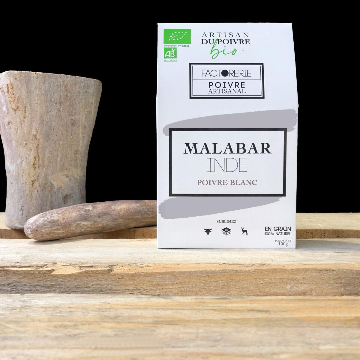Cafés Factorerie Poivre Blanc MALABAR BIO - 100g En Grain