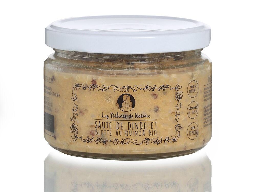 Les délices de Noémie Petits Pots Bébé 12 mois: Lot de 3 Sauté de Dinde et Blette au Quinoa Bio
