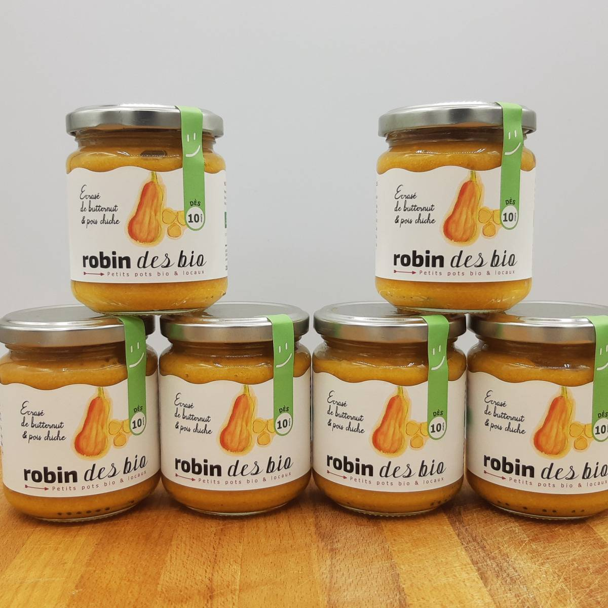 Robin des Bio Petit pot bébé Bio et Locaux - 6x Écrasé de Butternut Pois Chiche (dès 10 mois)