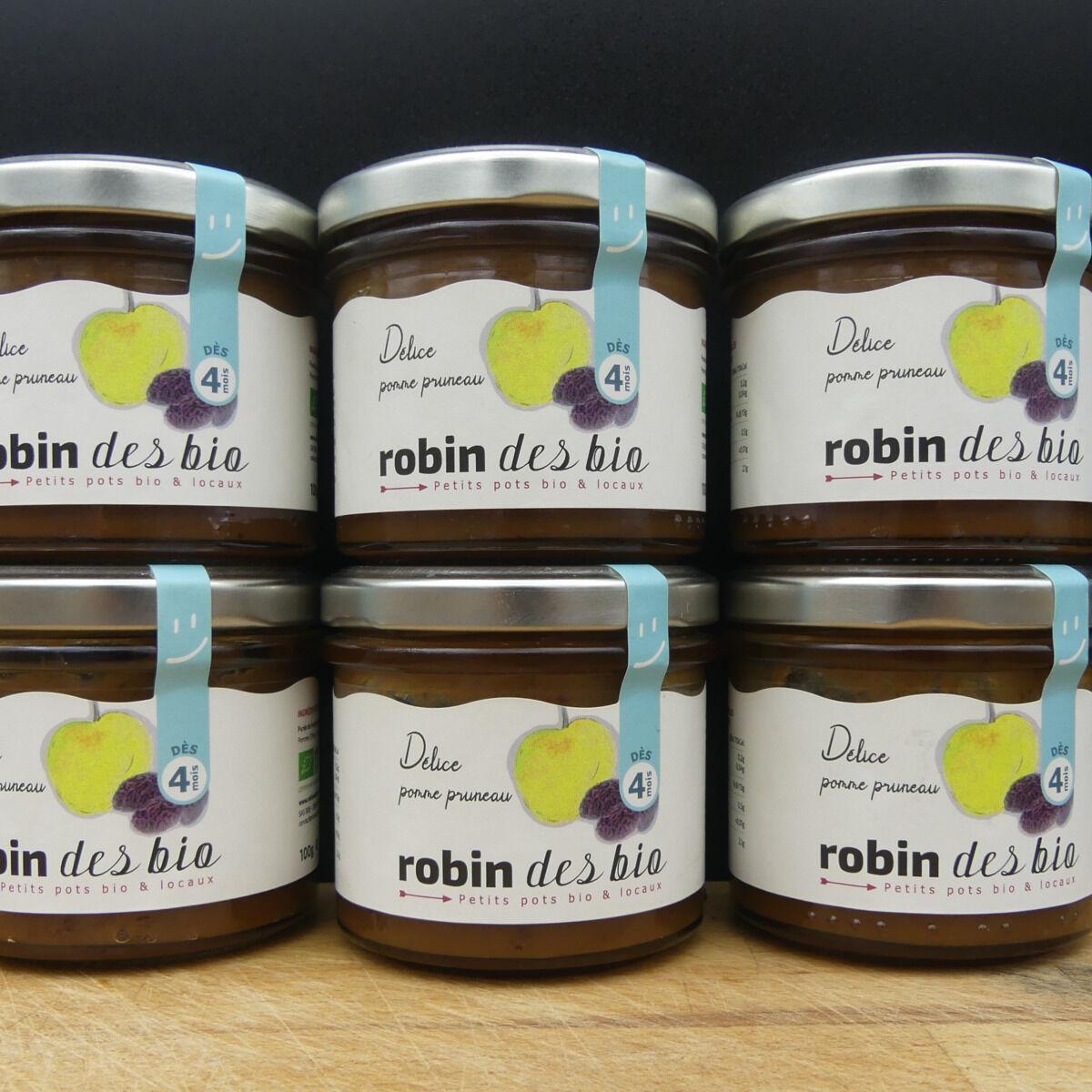 Robin des Bio Lot De Petit Pot Bébé Bio Et Locaux - 6x Pomme Pruneaux ( Dès 4 Mois)