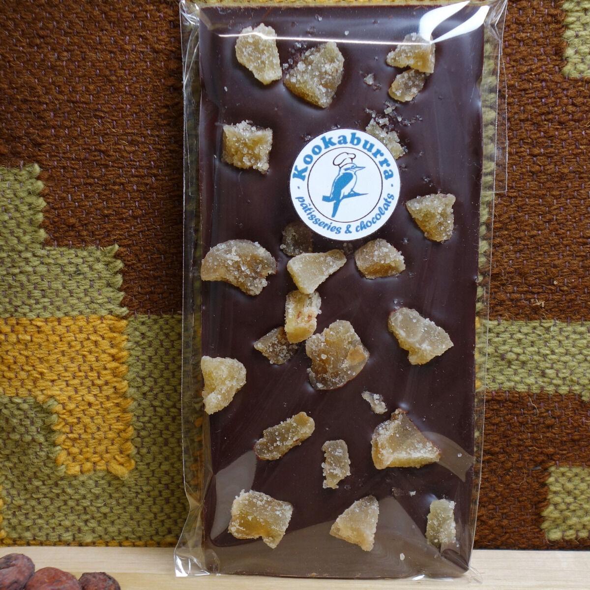 Pâtisserie Kookaburra Tablette Chocolat Noir 70% & Gingembre Confit
