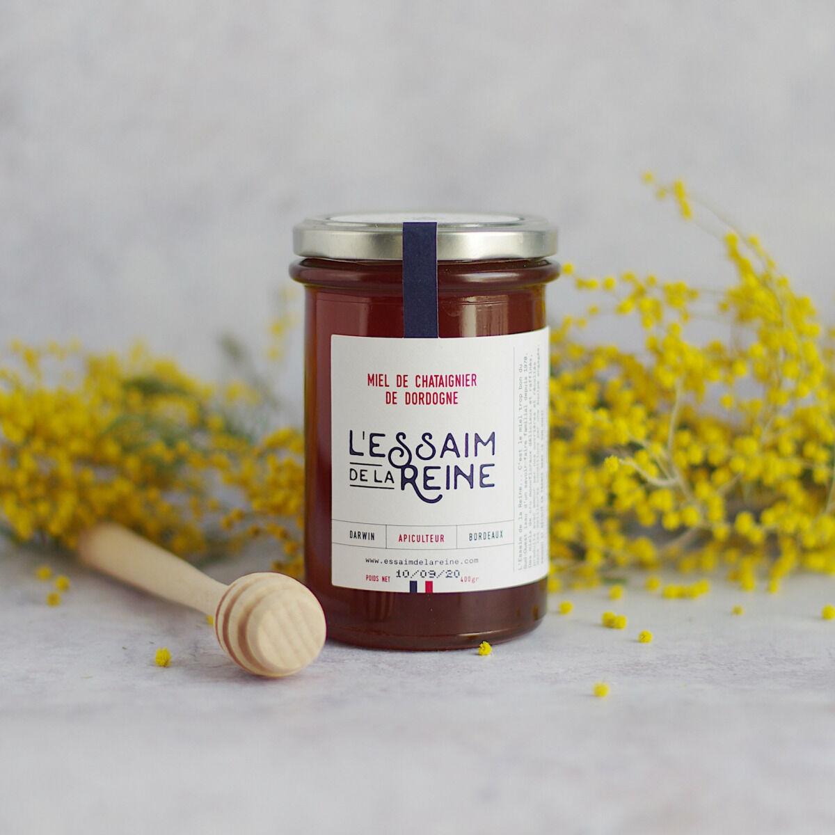 L'Essaim de la Reine Miel de chataignier de Dordogne - 400g - récolté en France par l'apiculteur