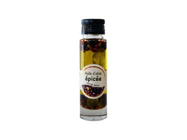 Les amandes et olives du Mont Bouquet Huile d'olive Picholine aux épices 10 cl