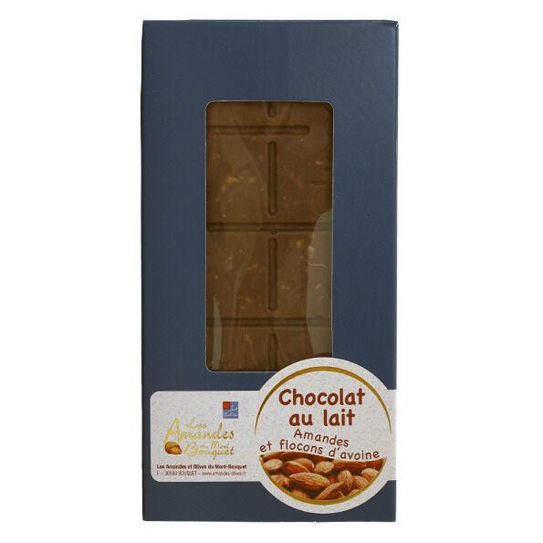 Les amandes et olives du Mont Bouquet Tablette de Chocolat au Lait, Amandes et Flocons d'Avoine