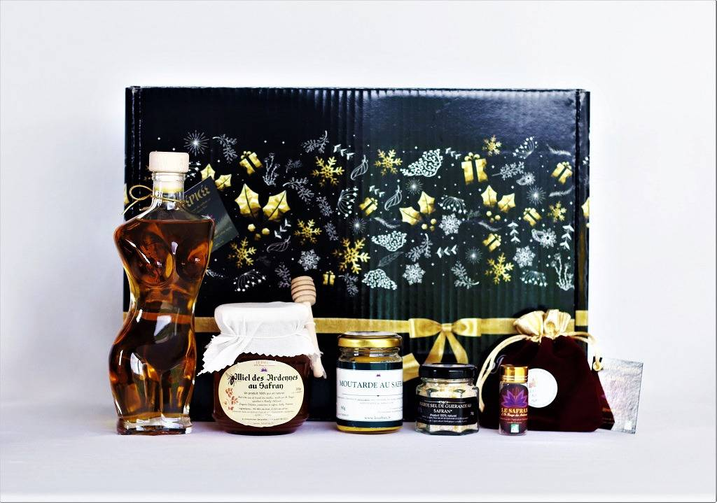 """Le safran - l'or rouge des Ardennes Coffret Noir """"joyeuses Fêtes"""" L'epicée"""