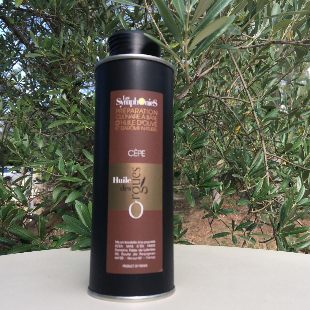 Huile des Orgues Huile d'Olive Vierge Extra Parfumée aux Notes de Cèpes - 250 ml
