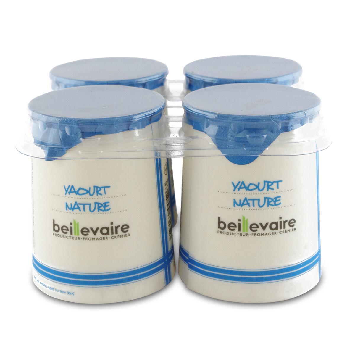 BEILLEVAIRE Lot de 4 Yaourts Nature lait entier