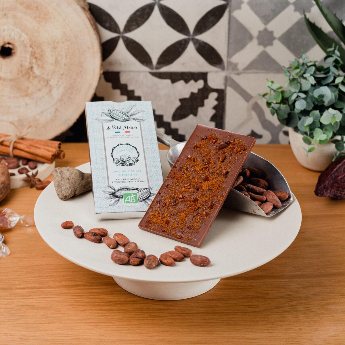 Le Petit Atelier Tablette De Chocolat Au Lait Bio Aux Éclats De Caramel