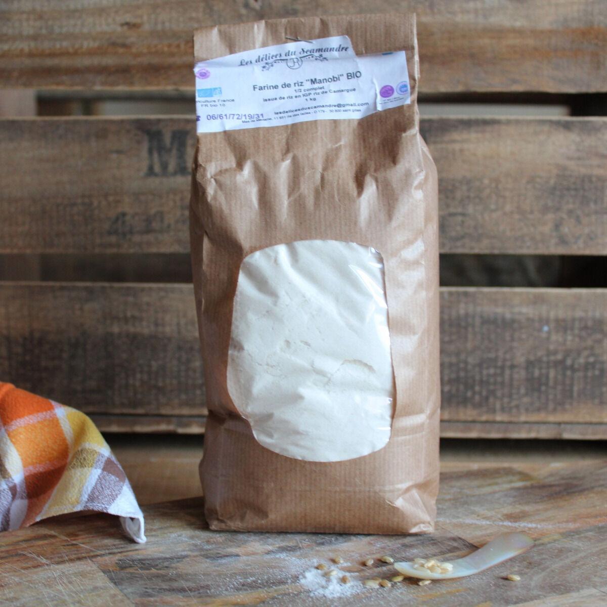 Les Délices du Scamandre Farine de Riz Bio Sans Gluten - 1kg