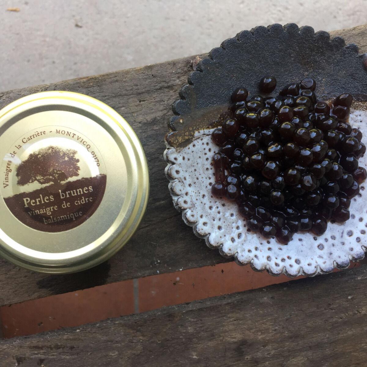 Vinaigres de la Carrière Perles Brunes - Vinaigre Balsamique de Cidre
