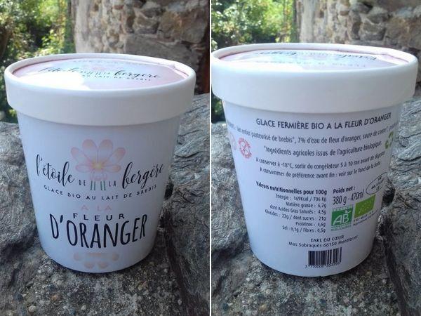 L'Etoile de la Bergère Glace Bio Au Lait De Brebis Corse Fleur D'oranger 470 Ml