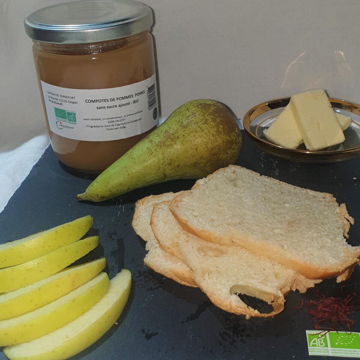 La Ferme du Montet Compote de Pommes Poires  sans sucre ajouté BIO - 420 g